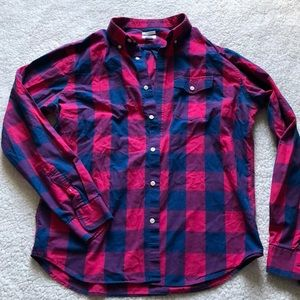 Pink and blue checkered button down